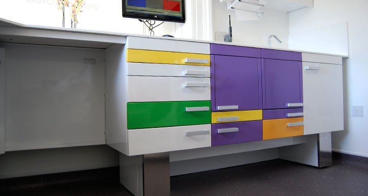 Photo of the colourful work by NVDC dental architects inside Manor Place Dental