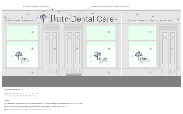 Elevational signage drawing for new Dental Practice in Rothesay