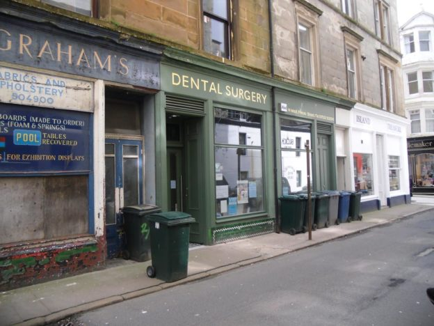 Existing traditional shopfront entrance to Dental Surgery, Rothesay, Scotland