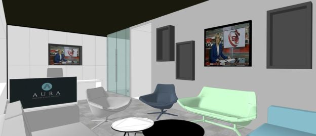 Schematic visualisation of reception and waiting area, Aura Dental and Aesthetics, Thornbridge, Scotland