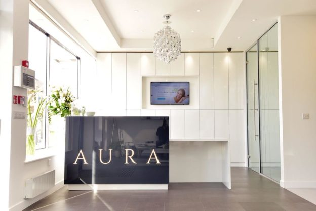 Contemporary reception area at Aura Dental, Glasgow