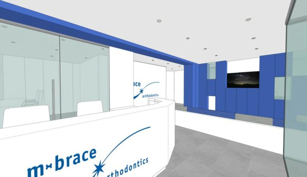 Schematic visual of reception and waiting area in the New M-Brace Orthodontics Practice, Airdrie, Scotland