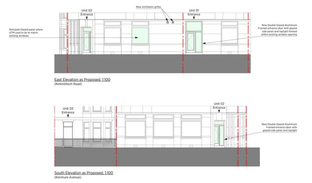 Proposed elevations of new dental surgery in Bishopbriggs