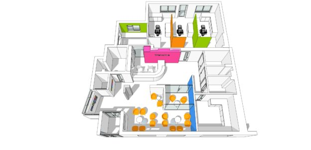 architects visualisation of Colourful orthodontics practice