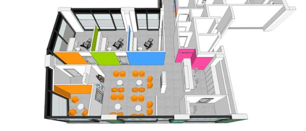 architects visualisation of colourful dental surgery